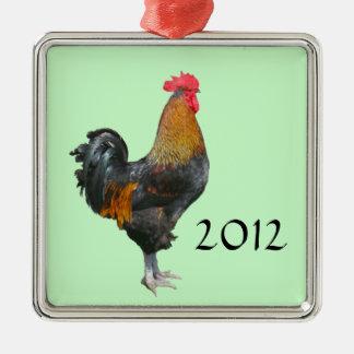 Ornamento colorido del gallo adorno cuadrado plateado