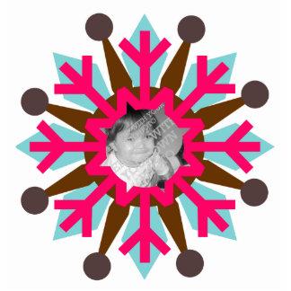 Ornamento colorido del navidad de la foto del copo fotoescultura vertical