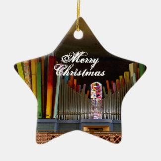 Ornamento colorido del órgano adorno navideño de cerámica en forma de estrella