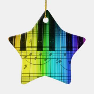 Ornamento colorido del teclado de piano adorno navideño de cerámica en forma de estrella