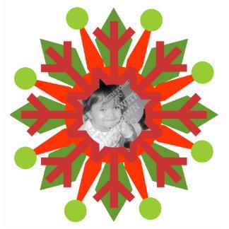 Ornamento colorido rojo y verde del navidad fotoescultura vertical