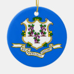 Ornamento con la bandera de Connecticut Ornamentos De Navidad