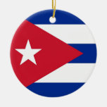 Ornamento con la bandera de Cuba Adorno Navideño Redondo De Cerámica