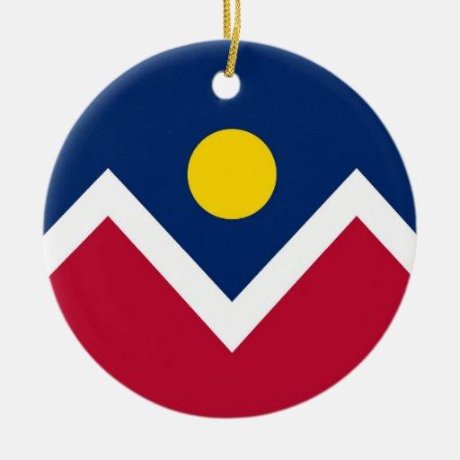 Ornamento con la bandera de Denver, Colorado Ornamento De Navidad