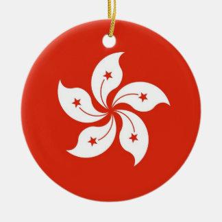 Ornamento con la bandera de Hong Kong, China Adorno Navideño Redondo De Cerámica
