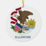 Ornamento con la bandera de Illinois Ornamento De Navidad