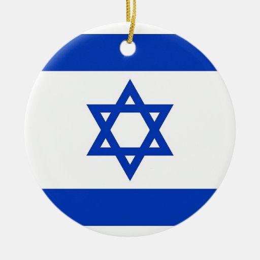 Ornamento con la bandera de Israel Adorno Navideño Redondo De Cerámica