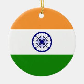 Ornamento con la bandera de la India Adorno Navideño Redondo De Cerámica