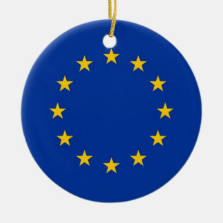 Ornamento con la bandera de la unión europea adorno navideño redondo de cerámica