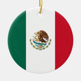 Ornamento con la bandera de México Adorno Redondo De Cerámica