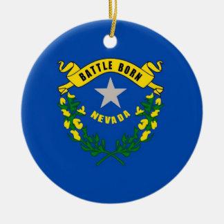 Ornamento con la bandera de Nevada Adorno Navideño Redondo De Cerámica