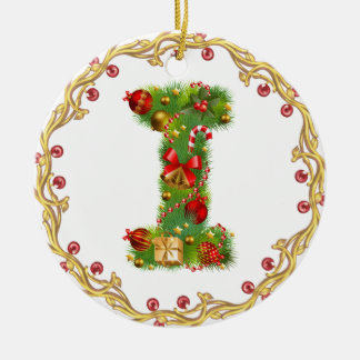 ornamento con monograma del navidad de la inicial adorno navideño redondo de cerámica