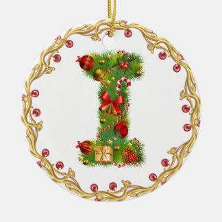 ornamento con monograma del navidad de la inicial  adorno de reyes