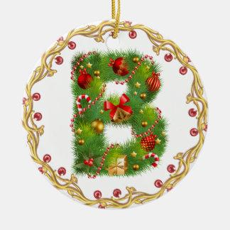 ornamento con monograma inicial del navidad de B - Adorno Navideño Redondo De Cerámica