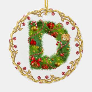 ornamento con monograma inicial del navidad de D - Adorno Navideño Redondo De Cerámica