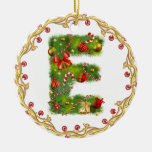 ornamento con monograma inicial del navidad de E - Ornamento De Navidad