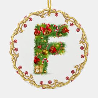 ornamento con monograma inicial del navidad de F - Adorno Navideño Redondo De Cerámica