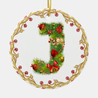 ornamento con monograma inicial del navidad de J - Adorno Navideño Redondo De Cerámica