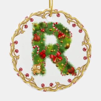 ornamento con monograma inicial del navidad de R - Adorno Navideño Redondo De Cerámica