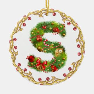 ornamento con monograma inicial del navidad de S - Adorno Navideño Redondo De Cerámica