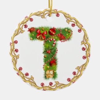 ornamento con monograma inicial del navidad de T - Adorno Navideño Redondo De Cerámica