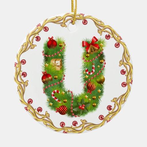 ornamento con monograma inicial del navidad de U - Adorno Navideño Redondo De Cerámica