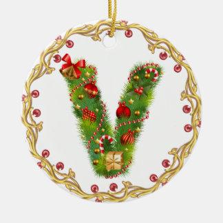 ornamento con monograma inicial del navidad de V - Adorno Navideño Redondo De Cerámica