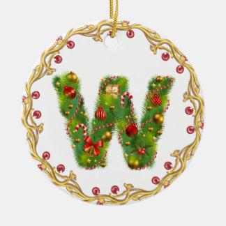 ornamento con monograma inicial del navidad de W - Adorno Navideño Redondo De Cerámica