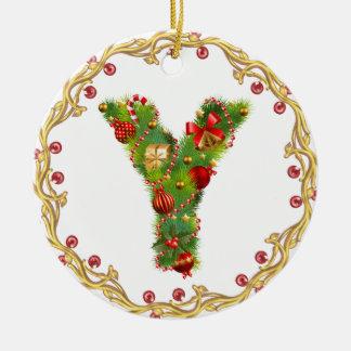 ornamento con monograma inicial del navidad de Y - Adorno Navideño Redondo De Cerámica