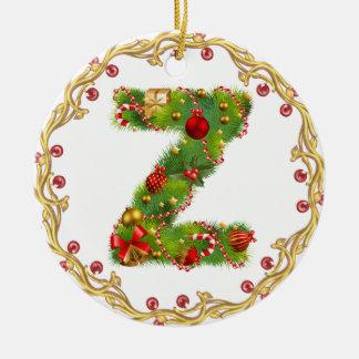 ornamento con monograma inicial del navidad de Z - Adorno Navideño Redondo De Cerámica