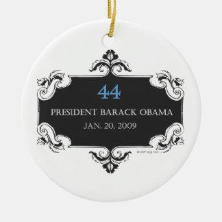 Ornamento conmemorativo de Obama 44 Adorno Navideño Redondo De Cerámica
