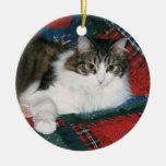 Ornamento conmemorativo del navidad de la foto del adorno navideño redondo de cerámica
