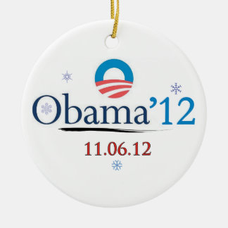 Ornamento conmemorativo del navidad de Obama 2012 Adorno Navideño Redondo De Cerámica