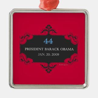 Ornamento conmemorativo del navidad de Obama 44 Adorno Navideño Cuadrado De Metal