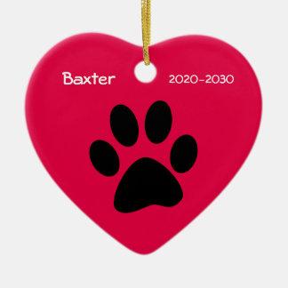 Ornamento conmemorativo del navidad del perro adorno de cerámica en forma de corazón