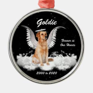Ornamento conmemorativo personalizado perro del adorno navideño redondo de metal