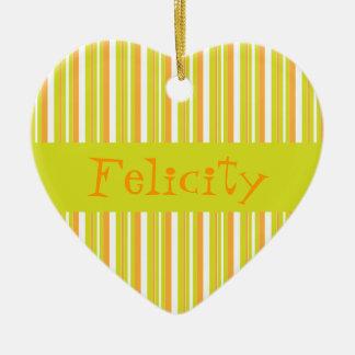 Ornamento conocido personalizado de las rayas de adorno navideño de cerámica en forma de corazón