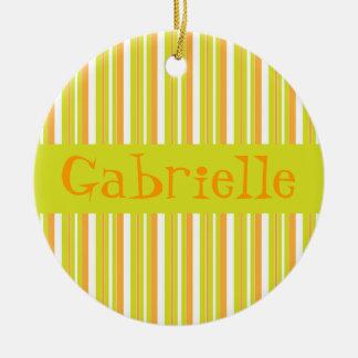 Ornamento conocido personalizado de las rayas de adorno navideño redondo de cerámica