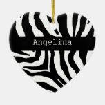 Ornamento conocido personalizado estampado de zebr ornato