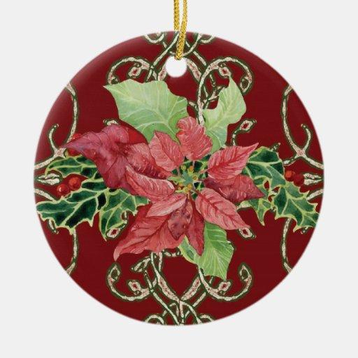 Ornamento contemporáneo del Poinsettia del navidad Adorno Navideño Redondo De Cerámica