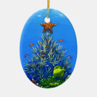Ornamento coralino del árbol de navidad adorno navideño ovalado de cerámica
