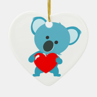 Ornamento Corazón motivo Koala y su corazón rojo Adorno De Cerámica En Forma De Corazón