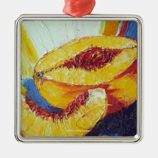 Ornamento cortado del melocotón adorno navideño cuadrado de metal