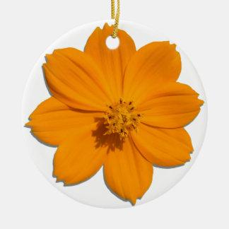 Ornamento - cosmos anaranjado adorno navideño redondo de cerámica