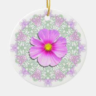 Ornamento - cosmos bicolor en cordón ornamentos de navidad