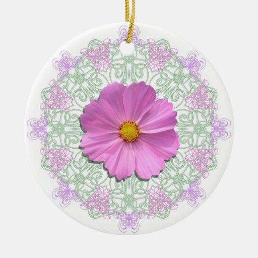 Ornamento - cosmos rosado medio en cordón adornos de navidad