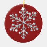 Ornamento cristalino del copo de nieve (rojo) ornamentos de navidad