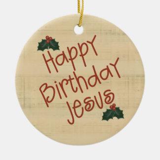 Ornamento cristiano del navidad adorno redondo de cerámica