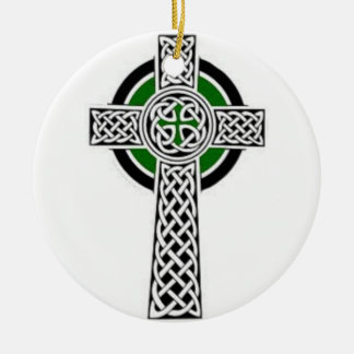 Ornamento cruzado adorno navideño redondo de cerámica