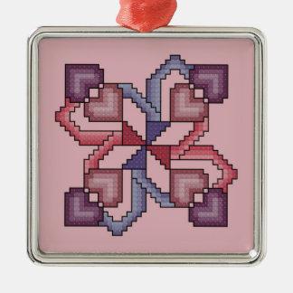 Ornamento cruzado del cuadrado del edredón de la adorno navideño cuadrado de metal
